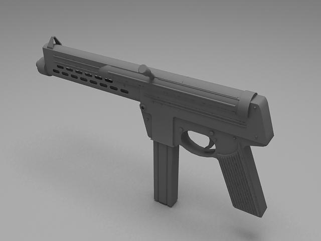 Submachine gun 3d rendering