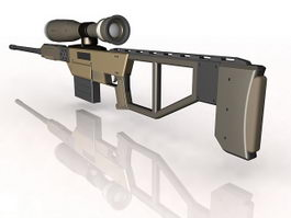 Powerful sniper rifle 3d model preview