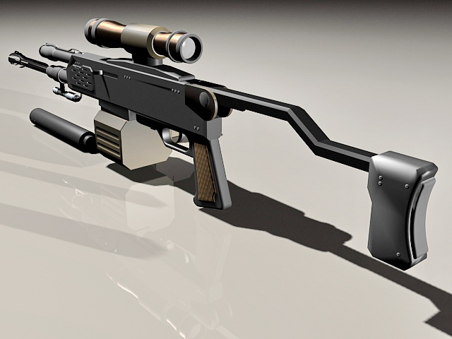 Sniper rifle with clips and silencer 3d rendering