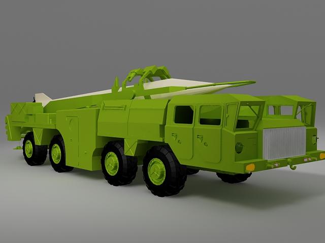Mobile missile truck 3d rendering