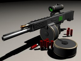 Futuristic sniper rifle concept 3d preview