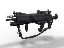 Futuristic assault rifle 3d model preview