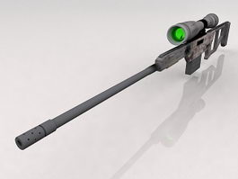 Futuristic sniper rifle 3d preview