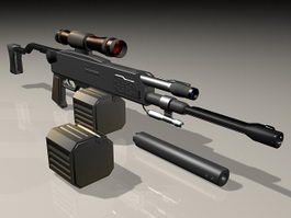 Semi-Automatic sniper rifle 3d preview