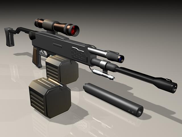 Semi-Automatic sniper rifle 3d rendering
