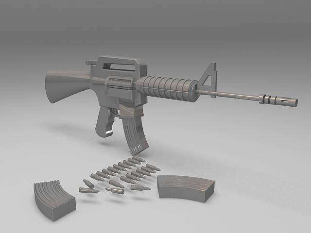 M4A1 carbine assault rifle 3d rendering