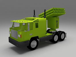 Multiple-missile launch rocket system 3d model preview