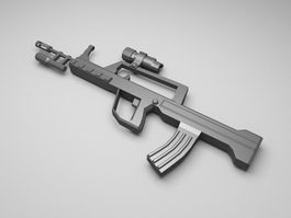 Military assault rifle 3d model preview