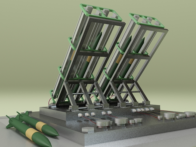Anti-Aircraft missile launcher turret 3d rendering