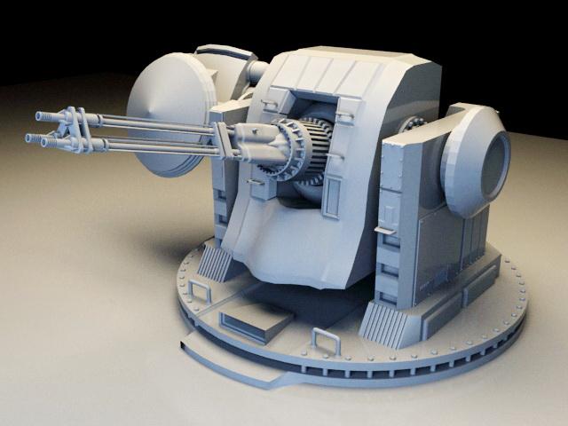 Battleship gun turret 3d rendering