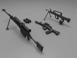 Military weapons rifle carbine 3d model preview