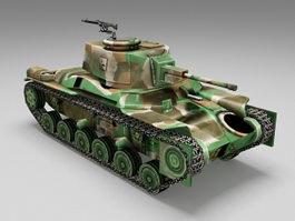 Japanese Type 97 Shinhoto Chi Ha tank 3d model preview
