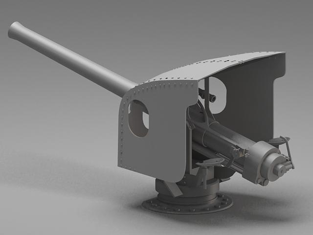 Navy artillery turret 3d rendering