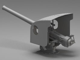 Navy artillery turret 3d preview