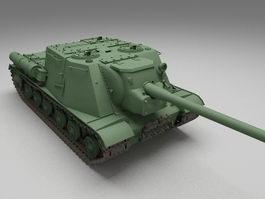 ISU-152 Soviet self-propelled assault gun 3d model preview