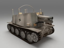 Nazi Germany Grille artillery 3d model preview