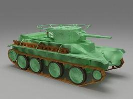Soviet Russian BT-5 tank 3d model preview