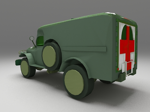 Army ambulance 3d rendering