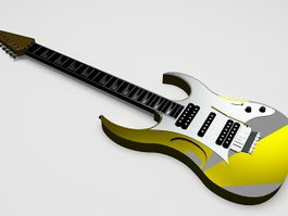 Yellow electric guitar 3d preview