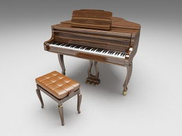 Grand piano with stool 3d preview