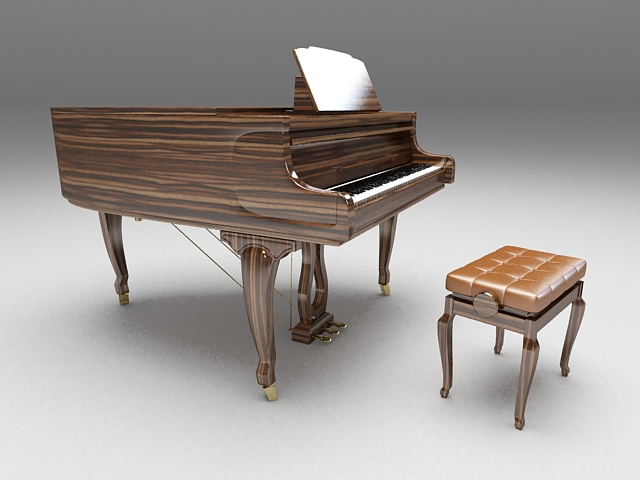 Grand piano with stool 3d rendering