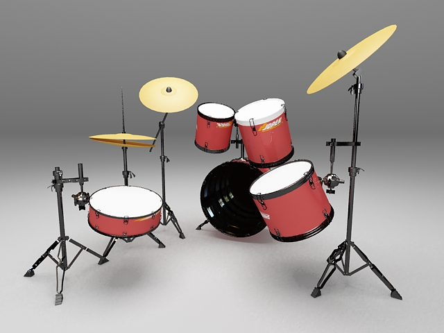 Drum set with cymbals 3d rendering