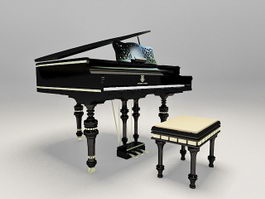 Black piano with stool 3d preview