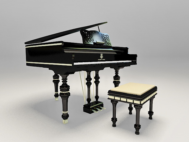 Black piano with stool 3d rendering