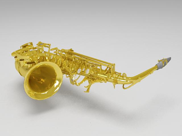 Alto saxophone 3d rendering