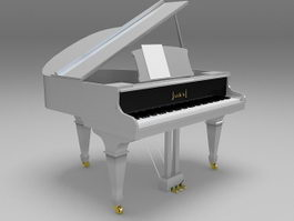 White grand piano 3d preview
