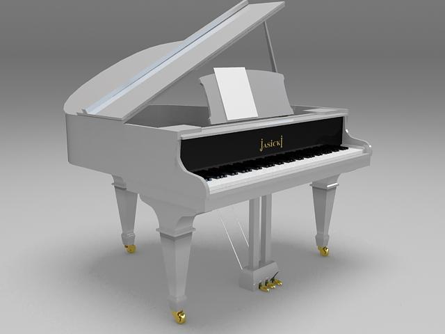 White grand piano 3d rendering