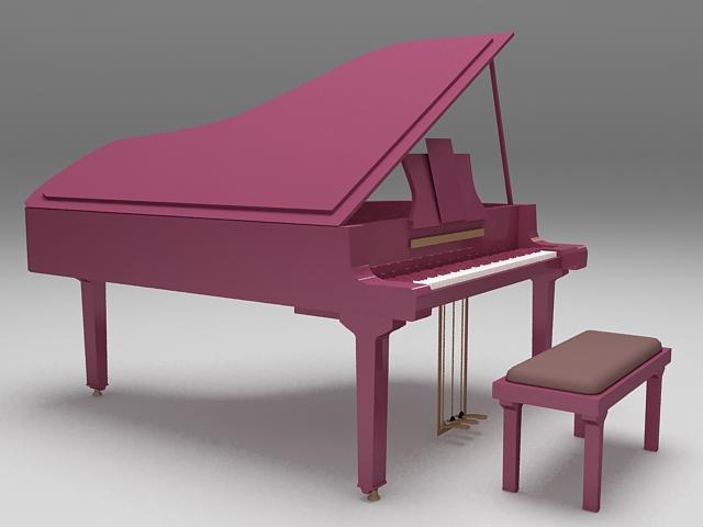 Purple grand piano 3d rendering