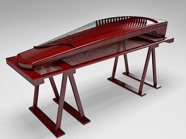 Chinese Instruments Zheng 3d rendering