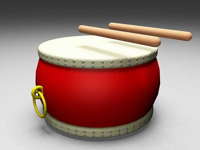 Chinese drum with sticks 3d rendering