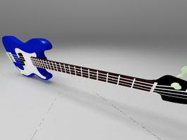 Blue jazz bass guitar 3d preview