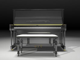 Upright piano with stool 3d preview