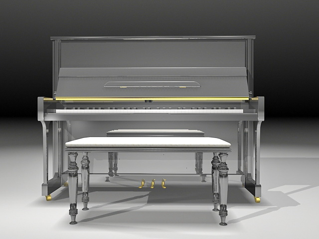 Upright piano with stool 3d rendering