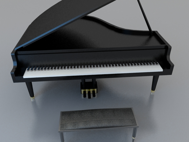 Black grand piano with stool 3d rendering