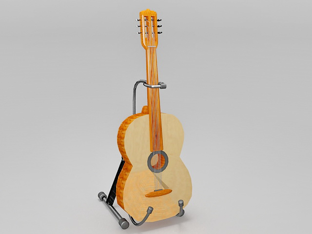 Guitar on stand 3d rendering