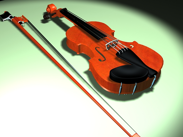 Violin with bow 3d rendering
