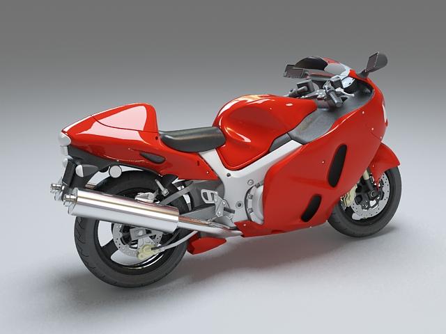 Red motorcycle 3d rendering