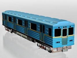 Blue metro train 3d preview