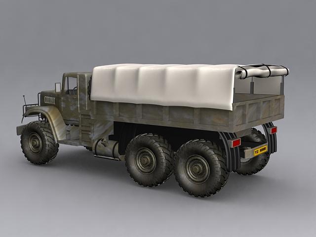 KrAZ-255 military truck 3d rendering