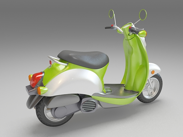 Green moped motor scooter 3d rendering