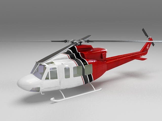 Bell civilian helicopter 3d rendering