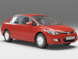 Honda Civic sedan red 3d preview