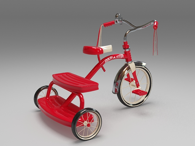 Children tricycle 3d rendering
