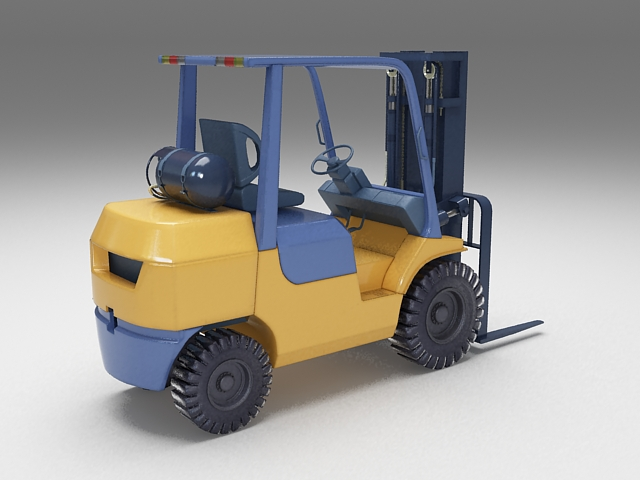 Forklift truck 3d rendering