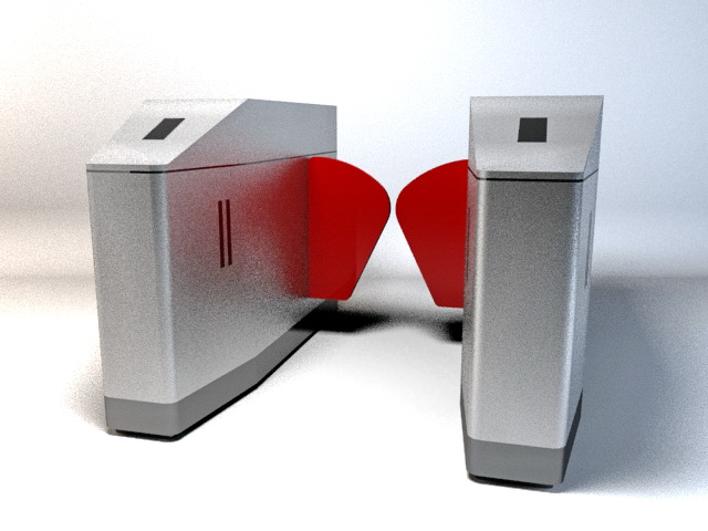 Automatic ticket gate 3d rendering