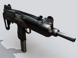 Uzi submachine gun 3d model preview